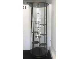 unique tall cylinder glass display stand cabinet