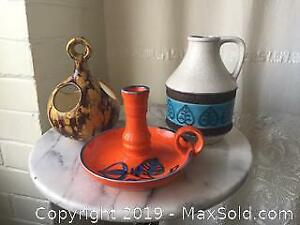 Pottery Lot Red Blue Yellow