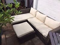 RATTEN L-SHAPED SOFA AND TABLE WITH CUSHIONS