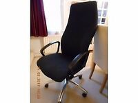 Luxury Sculptured Extra High back Multi Function Comfortable Black Fabric 360 degree Swivel Chair