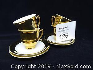 24kt Gold Painted Czechoslovakian Demitasse Cups and Saucers -- Set of Four