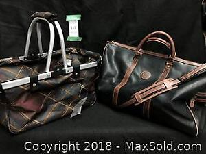 Leather weekend bag and collapsible shopper B