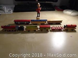 Mini Wood Train Pieces and Mountie