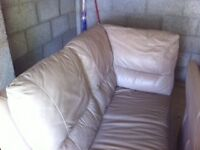 Leather corner sofa and 2 seater, sandstone