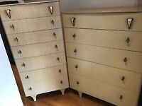 Pair of 1950s Chests of Drawers with Original Handles - £70