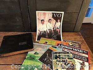Signed Il Divo Poster, Antique Record Book, Assorted Vintage Records