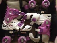 Quad Roller Skates - Osprey girls - pink/purple & white - size 10-12 (28-31)