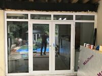 White PVC french double doors good condition