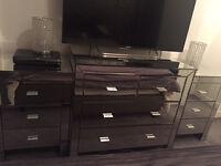 4 piece mirrored furniture set + mirror + stool Quick sale