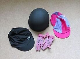 Charles Owen Competitor Skull Cap - Size 1 - plus 2 Silks & Size 3 Equetch Gloves
