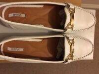 Womens Geox Respira Italian Leather Optic White Loafer Shoes