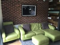 Free DFS leather sofa suite to take away - consisting of corner sofa, swivel chair, and foot stool