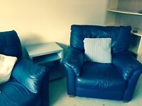 Navy Blue Leather 2 Seater Sofa, Arm Chair and Storage Footstool for sale Sunbury