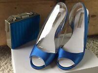 """Shoes 4"""" – Aldo – Blue Satin Size 7(40) & Handbag - £20"""