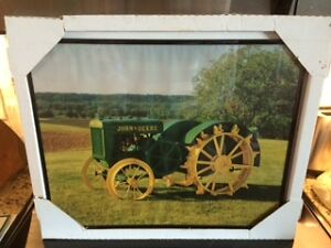 JOHN DEERE ADVERTISING FRAMED SIGN $40
