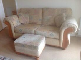 Quality Three Piece Suite with storage Footstool