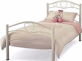 Single Metal Bed Frame 'Hearts' Design White