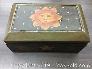 Vintage Carved And Painted Wooden Jewelry Box