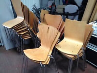 Stackable Beech Bistro Chairs with Chrome Legs