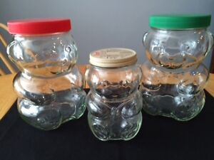 Set of 3 Kraft Peanut Butter Jars with Lids