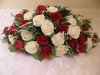 Artificial Red & Ivory Wedding Flowers Top Table Arrangement, NEW