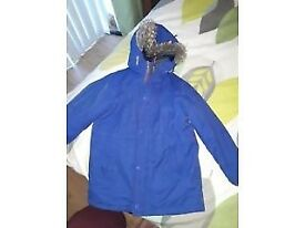 Next blue 5/6 boys winter coat with fur