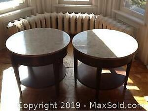 Pair Of French Provincial Marble Top Side Tables