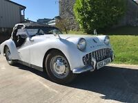 1963 TR3 White Left Hand Drive