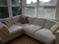 Cream corner Habitat Sofa, 2mtr x 2mtr in size, 5 years old, very good condition, removalble covers