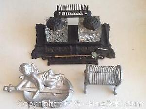 Antique Inkwell With Pen And Paper Holder