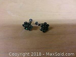 Sterling and green rhinestone earrings