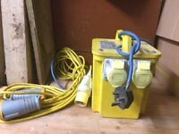 On site Transformer Dual Socket plus extension lead