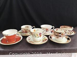 Set Of 6 Orange Themed Tea Cups And Saucers
