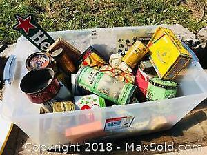 Huge Vintage Nostalgia Lot of Tins Signs Etc