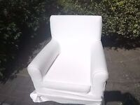 Ikea white armchair with removeable covers
