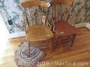 Antique Chairs And Rag Rug A