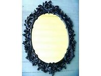 VINTAGE ORNATE GOTHIC WALL MIRROR/VERY HEAVY- 29 X 19 INCHES