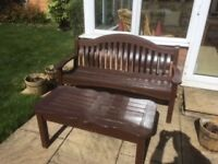 Two sets of wooden garden bench with table Solid and durable wood which has been varnished