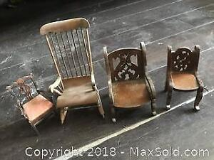 2 German Antique hand carved Miniature Chairs. Pickup B