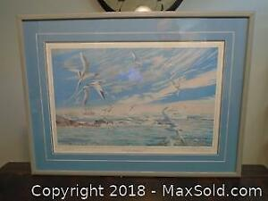 """Framed & Matted Signed Print 260/1000 by Amos called """"After the Storm - Bermuda Then & Now"""""""