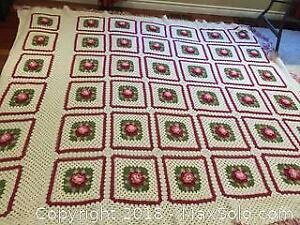 "Hand-Crocheted Granny Square Throw Blanket 88"" w x 97"" l"