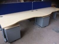 4 x Light oak rectangle desk and pedestals with keys and dividers