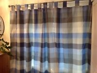 NEXT blue check fully-lined tab top curtains - two matching pairs available