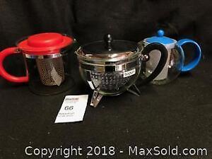 3 vintage BODUM teapots B