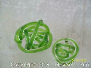 Murano Green Art Glass Spherical Twist Abstract Ornament Pair