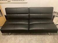 Easy click clack - 2 seater Black leather sofa bed/sofa for sale