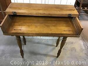 Antique wood desk with pullout surface and cover
