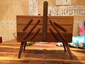 Wooden sewing box on legs expandable for sale £10