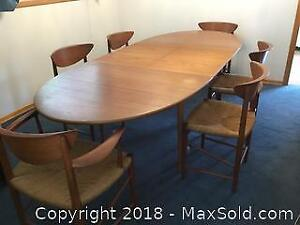 Teak Dining Table And 6 Matching Chairs