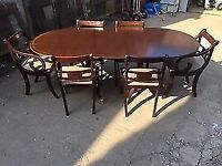 mahogany regency dining table with 6 chairs